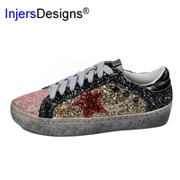 Women Casual Shoes Genuine Leather Do Old Dirty Shoes Mixed Color Women Sequins Fashion Golden Star