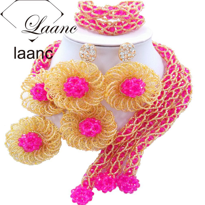 купить Laanc Fashion Nigerian Wedding Necklace Fuchsia Pink and Gold Flower African Beads Jewelry Set Crystal FBFE011 по цене 4715.63 рублей