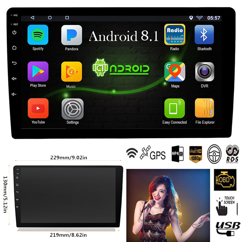 Android 8.1 lecteur multimédia stéréo de voiture Quad Core 2 Din Wifi Bluetooth Autoradio 10.1
