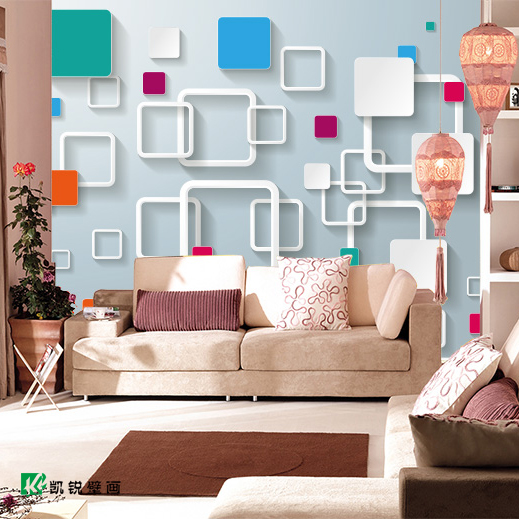 Custom 3D stereoscopic large mural color plaid sofa living room TV backdrop bedroom wall paper Non-woven fabric wallpaper custom 3d photo wallpaper natural mural waterfalls pastoral style 3d non woven straw paper wall papers living room sofa backdrop