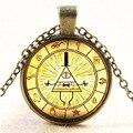 Steampunk drama de gravity falls mistérios bill roda cifra de vidro pingente de vidro colar de doctor who 1 pçs/lote mens jóias feitas à mão