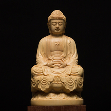 9.5/13CM Wood Bouddha Statue Wooden Carving Buddha Buda Estatua Shakyamuni Craft Bodhisattva Sculpture for Home Decor
