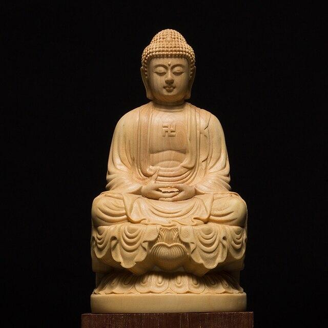 9.5/13Cm Hout Bouddha Standbeeld Houten Carving Boeddha Buda Estatua Shakyamuni Craft Bodhisattva Sculptuur Voor Home Decor