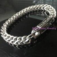Top Fashion 52g 316L Stainless Steel Silver Bracelet Chain Charming Men S 22CM 13MM Quartet Mill
