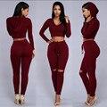 Новые поступления мода 2016 весна лето женщин 2 шт. наборы crop топ черный winered наряды уличная брюки брюки устанавливает XD812