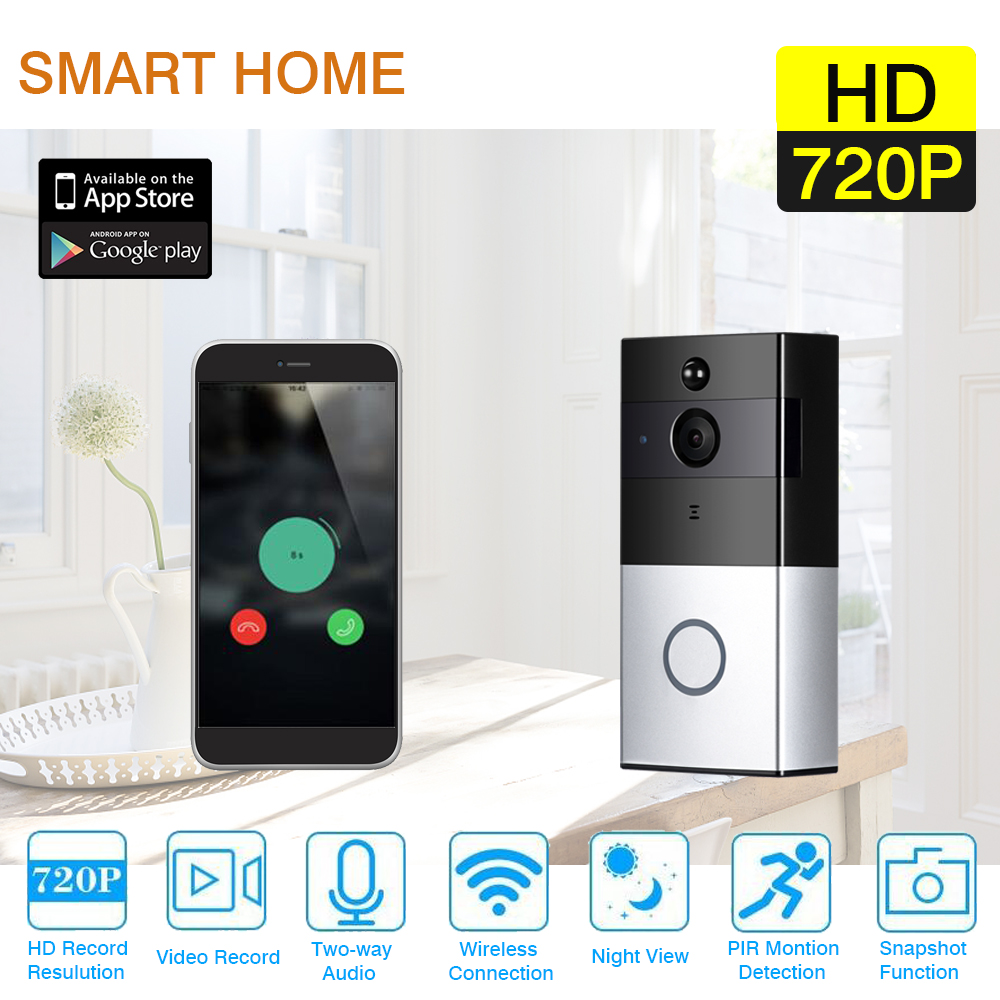 Wireless Wifi HD 720P Smart Video Doorbell Camera Battery Built in 16GB SD Card Support PIR Detection Infrared Night Vision P2PWireless Wifi HD 720P Smart Video Doorbell Camera Battery Built in 16GB SD Card Support PIR Detection Infrared Night Vision P2P