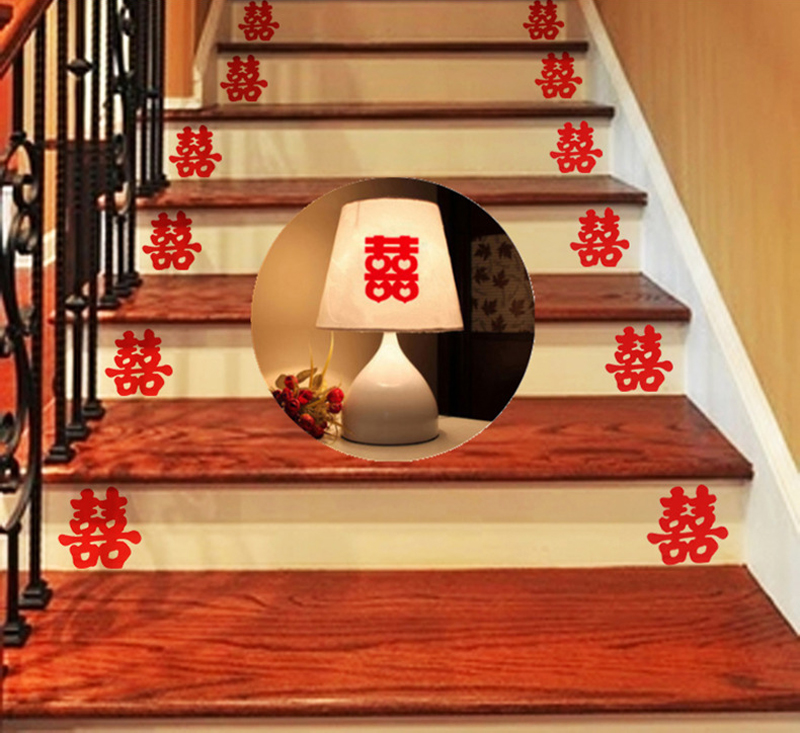 6Pcs Wedding Sticker Stair Double Happiness Chinese Wall Stickers Wedding Supplies Couple Room Home Decoration Nursery Wallpaper