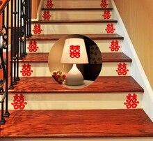 6Pcs da Sposa Sticker Scala Doppia Felicità Cinese Adesivi Murali Forniture di Nozze Coppia Room Della Decorazione Della Casa Materna Carta da Parati