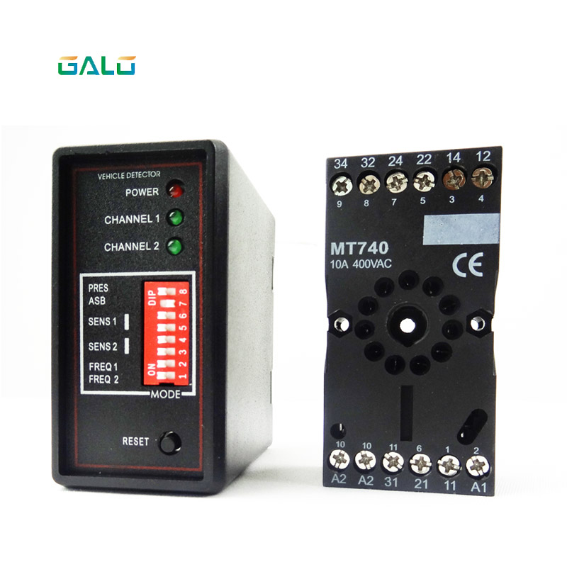 Gate vehicle access control dual two Channel Loop Detector/Inductive Loop Parking Detectors220v 110V 24V DC 12V Dc double channel inductive vehicle loop detector dual channel high sensitivity for the car parking traffic inductive 12 24v