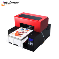 Jetvinner Automatic T shirt Flatbed Printer 6 color A3 Size Print Machine DTG Printers for Dark and Light Color Textile Printing