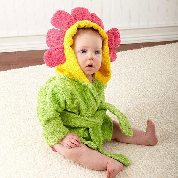 Baby Bath Towels Sun Flower Shape Baby Towel Poncho Green Color 100% Cotton New Born Bathrobe Washable Floral Children Towel