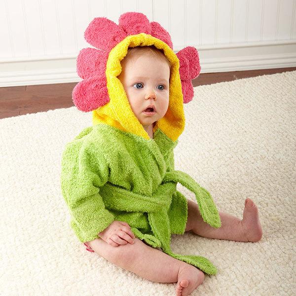 Toallas de Baño para bebés Girasol Forma de Bebé Albornoz Toalla Poncho de Color Verde 100% Algodón Recién Nacido Lavable Floral Niños Toalla