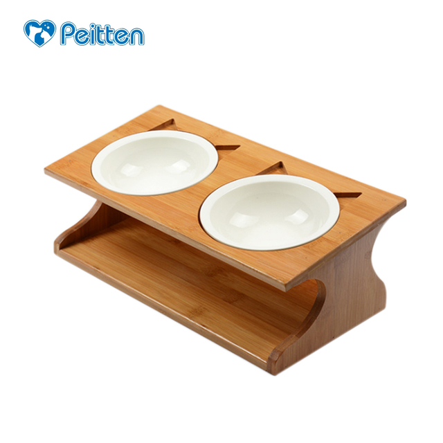 Delicieux Pet Cat Dining Table Bamboo Type Ceramic Double Pet Bowls Small Puppy Pet  Dogs Cats Food