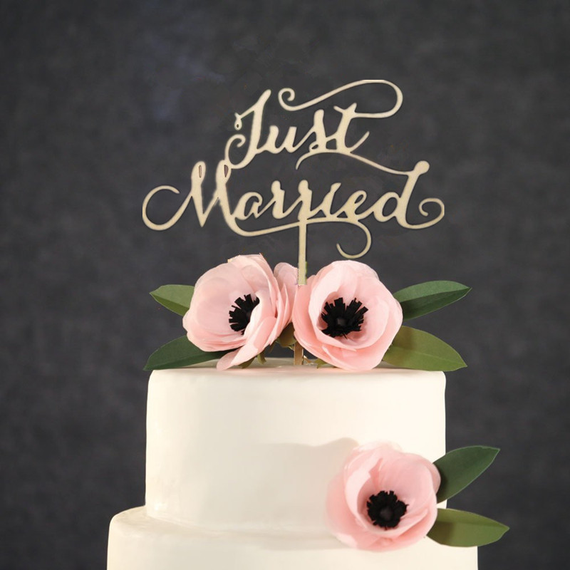 """""""Just Married"""" Rustic Wedding Cake Topper Engagement"""
