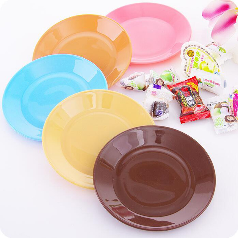 1 piece kitchen supplies new small colorful food grade plastic dinner plates tableware snack dishes flat