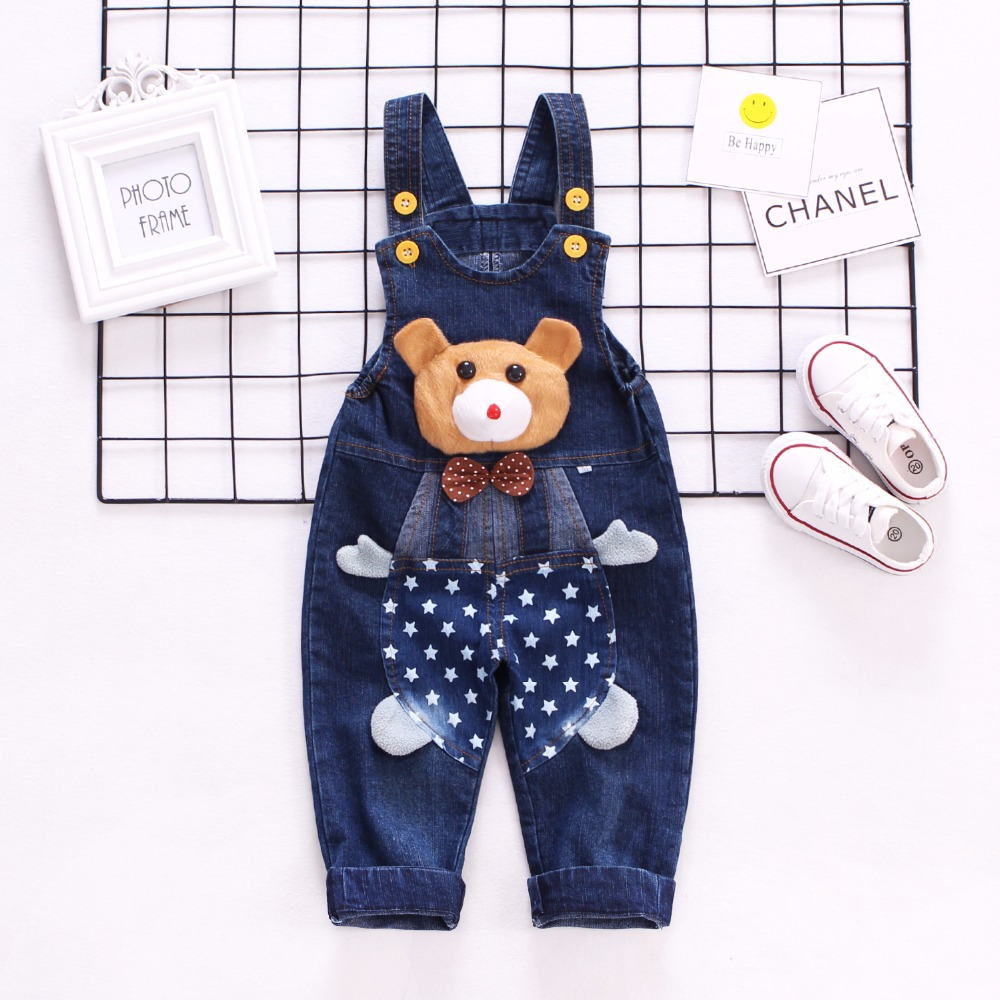 1-3T Spring Autumn Baby Overalls Boys Denim Pants Cute Bear Trousers Kids Rompers Toddler Jumpsuit Bebe Clothing Infant Clothes