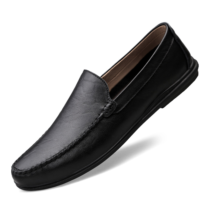 Classical Men Leather Casual Flat Shoes Luxury Slip On Men's Business Fashion Loafers Shoes Brown Black Man Moccasins Plus Size