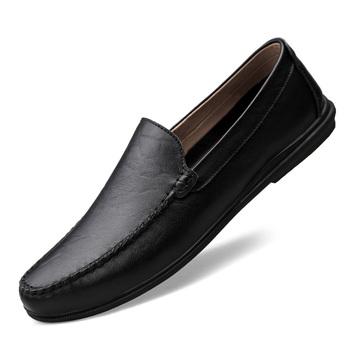 Klasyczne męskie skórzane obuwie na co dzień luksusowe wsuwane męskie moda biznesowa buty wsuwane brązowe czarne mokasyny męskie Plus Size tanie i dobre opinie DawnDark Skóra Split Gumowe Wiosna jesień Syntetyczny Dla dorosłych 8615-2 Pasuje prawda na wymiar weź swój normalny rozmiar