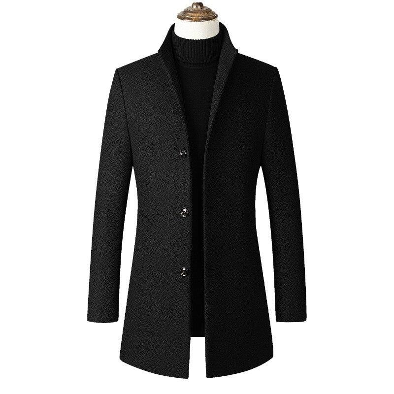 Mode hommes coupe-vent veste Long pardessus hommes grande taille 3xl 4xl Trench Coat col montant Slim décontracté noir laine manteau mâle
