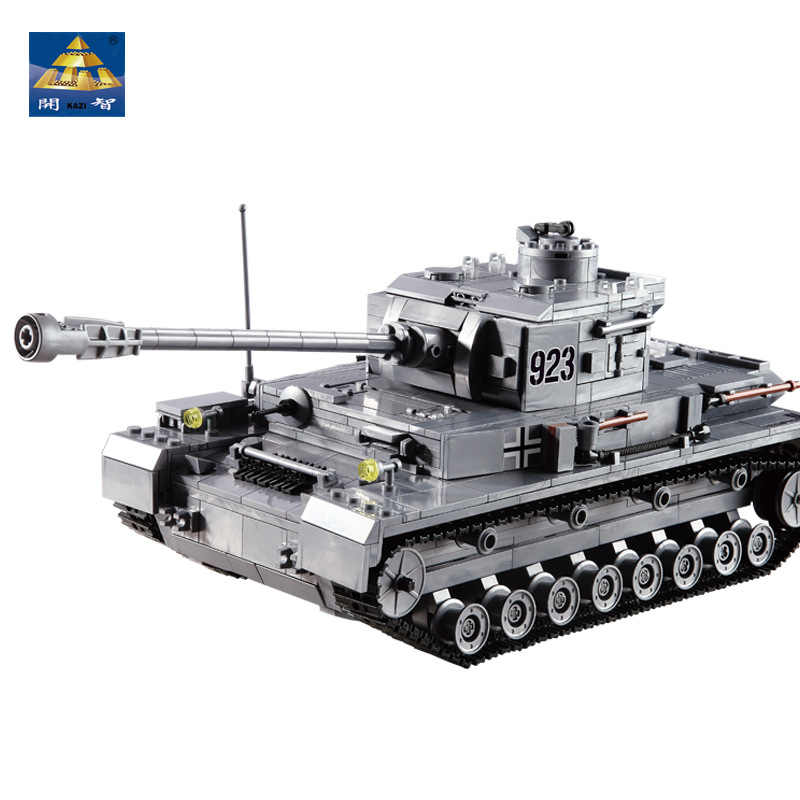 KAZI Large Panzer IV Tank 1193pcs Building Blocks Military Army Constructor sets Educational Assembly Toys for Children Gifts