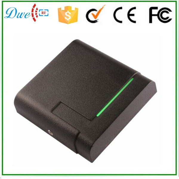 DWE CC RF 2015 new design13.56mhz wiegand 26 waterproof smart rfid reader with card management access control reader dwe cc rf rfid card reader 125khz emid or 13 56mhz mf wiegand 26 backlight keypad reader for access control system 002p