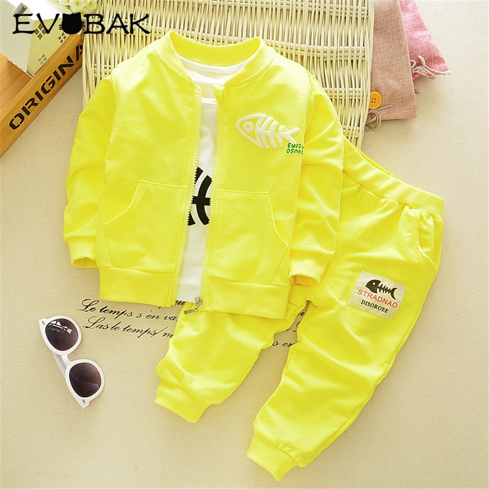 Children Clothing 1-4 Year Fashion Boys Clothing Set Spring Autumn 3Pcs Suit Coat Shirt Pants Baby Kids Clothes Cotton Tracksuit