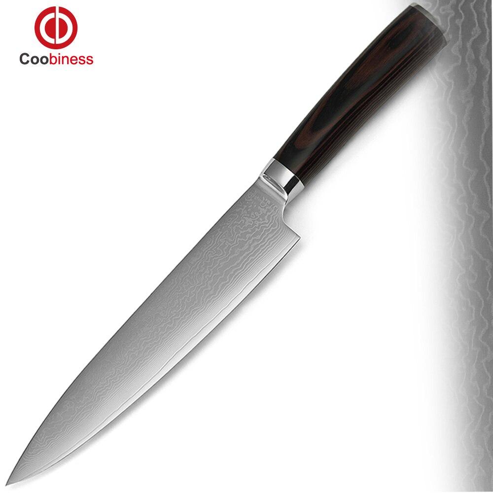 xyj marca chef coltello da cucina 8 pollice aus 10 damasco veins acciaio manico in