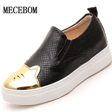 2016 new brand shoes woman Platform shoes Animal Prints slip on black and white shoes