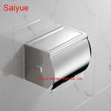 Роскошные широкий держатель туалетной бумаги Box SUS 304 нержавеющей стали туалет рулон ткани стойке ванной Banheiro аксессуары