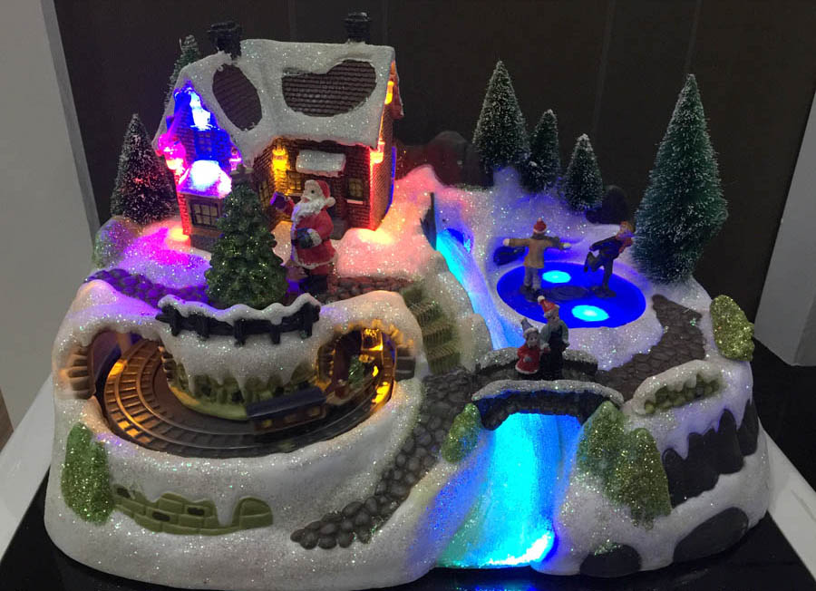 warm european towns winter snow village train rotation children skating with light music ornament christmas gift table decor in statues sculptures from