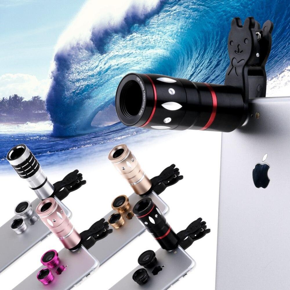 imágenes para 10x zoom telefoto 4in1 ojo de pez gran angular micro clip-en la lente de la cámara para el iphone para el teléfono inteligente