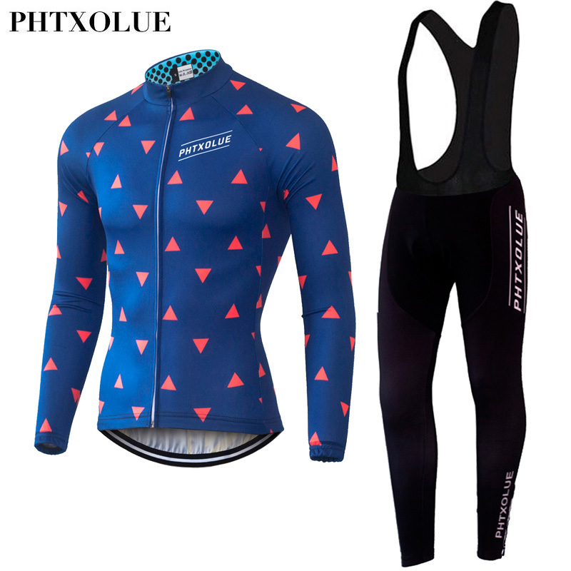 ФОТО Phtxolue Long Sleeve Cycling Clothing Sets Men 2016 Cycling Jerseys Sets Cyle Clothes Wear Bicycle Bike MTB Jerseys QY057