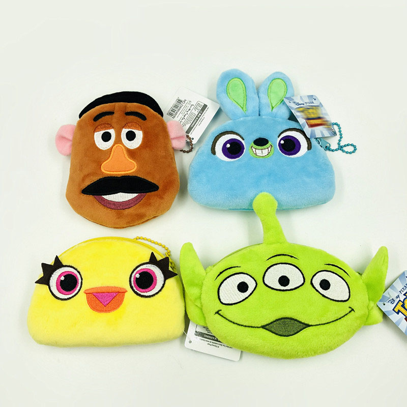 10*12cm Cartoon Toy Story Plush Purse Wallet Zip PP Cotton Purse Plush Bag Kids Girls Coin Purse Wallet Children Birythday Gift toy story bunny toys