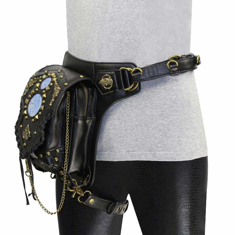 Black PU Leather & Gold Rivets Chain Vintage Shoulder Messenger Bags Cross Body Steampunk Waist Bag Gothic Corset Accessories