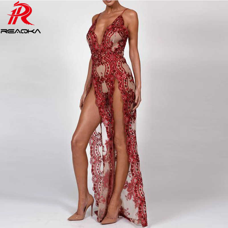 5fb9cd9e 2018 Sexy Women Sequins Maxi Long Dress Summer Strap Plunge V Backless High  Split Luxury Nightclub