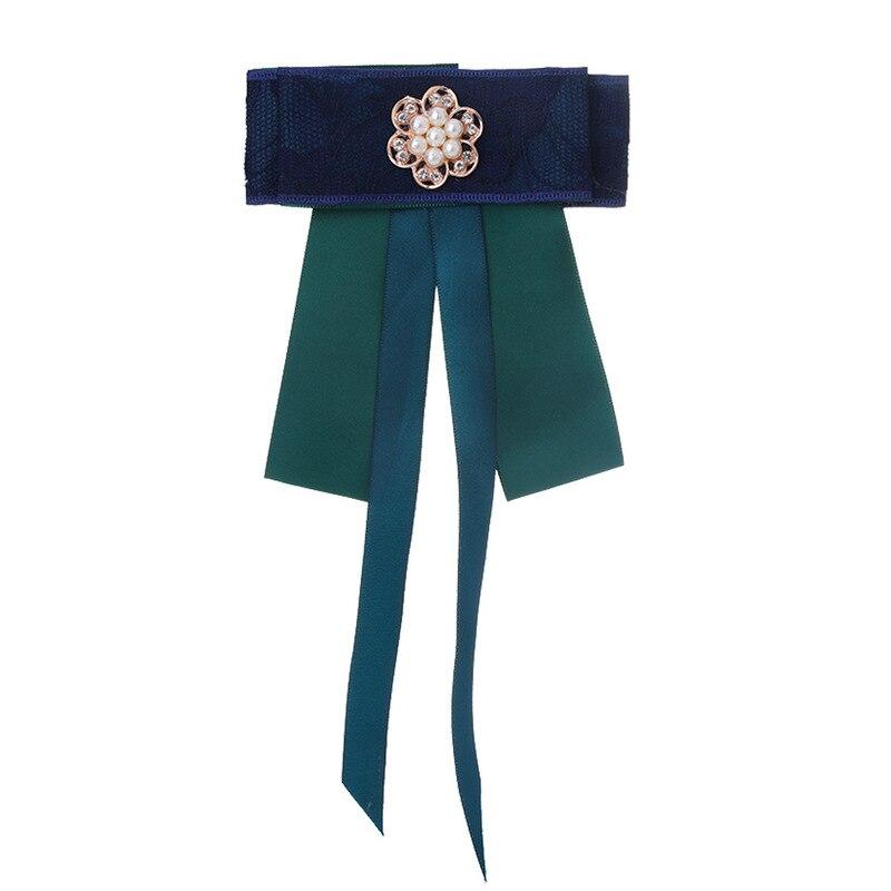 Frauen Spitze Bogen Tie Floral Shirt Brosche Kragen Blume Krawatte Strass Band High-grade Doppel Fliege