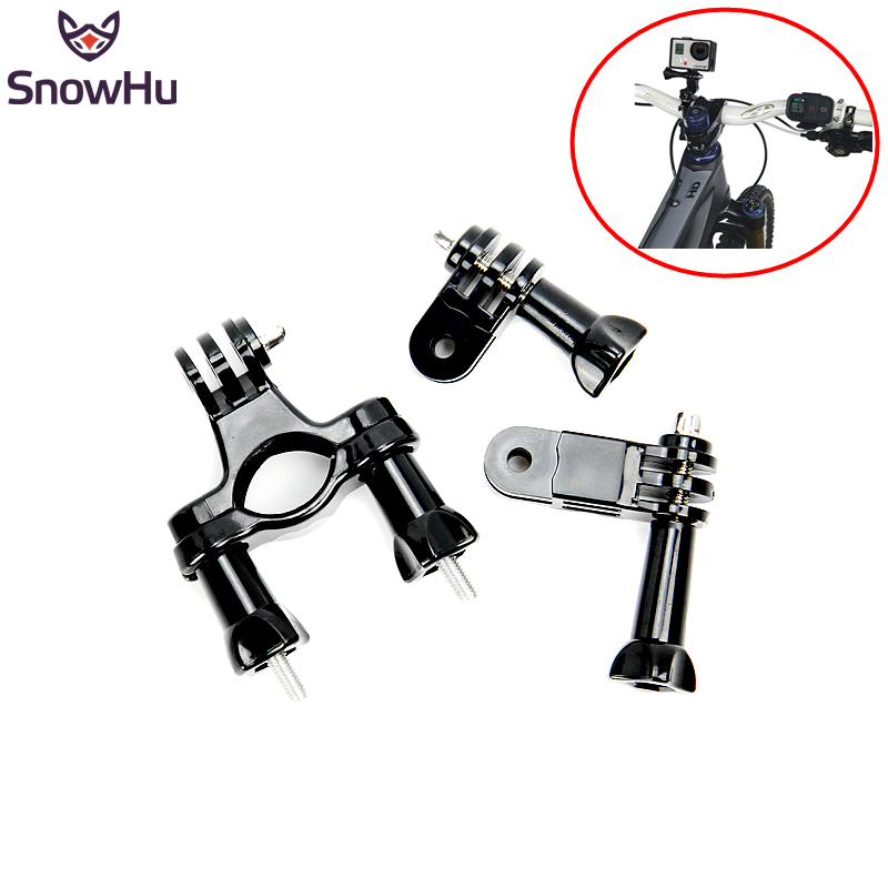 SnowHu for GoPro accessories Bike Motorcycle Handlebar Seatpost Pole Mount  3 Way Adjustable Pivot Arm for Gopro Hero 5 4 3 GP02 universal bike bicycle motorcycle helmet mount accessories