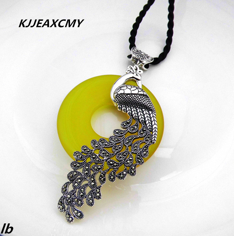 KJJEAXCMY Fine jewelry 925 Sterling Silver natural agate Peacock exaggerated atmosphere fashion sweater pendant pendant new 925 sterling silver pendant thai silver natural green agate pendant locket female ruby pendant