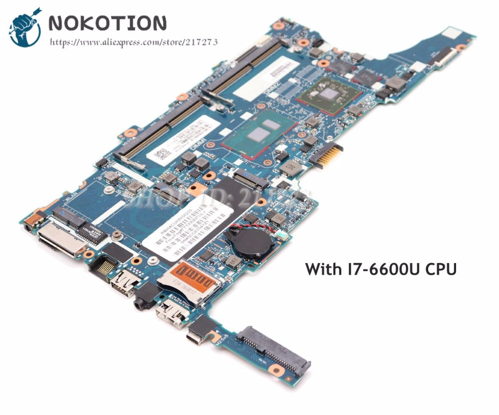 NOKOTION For HP EliteBook 850 840 G3 Laptop Motherboard 832429 601 832429 001 6050A2822301 MB A01 SR2F1 I7 6600U CPU