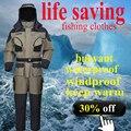 зимняя зимнней зима рыбацкие одежда цельный костюм плавающий спасательного рыболовная одежда YKK молния Спасательное свисток бесплатная доставка