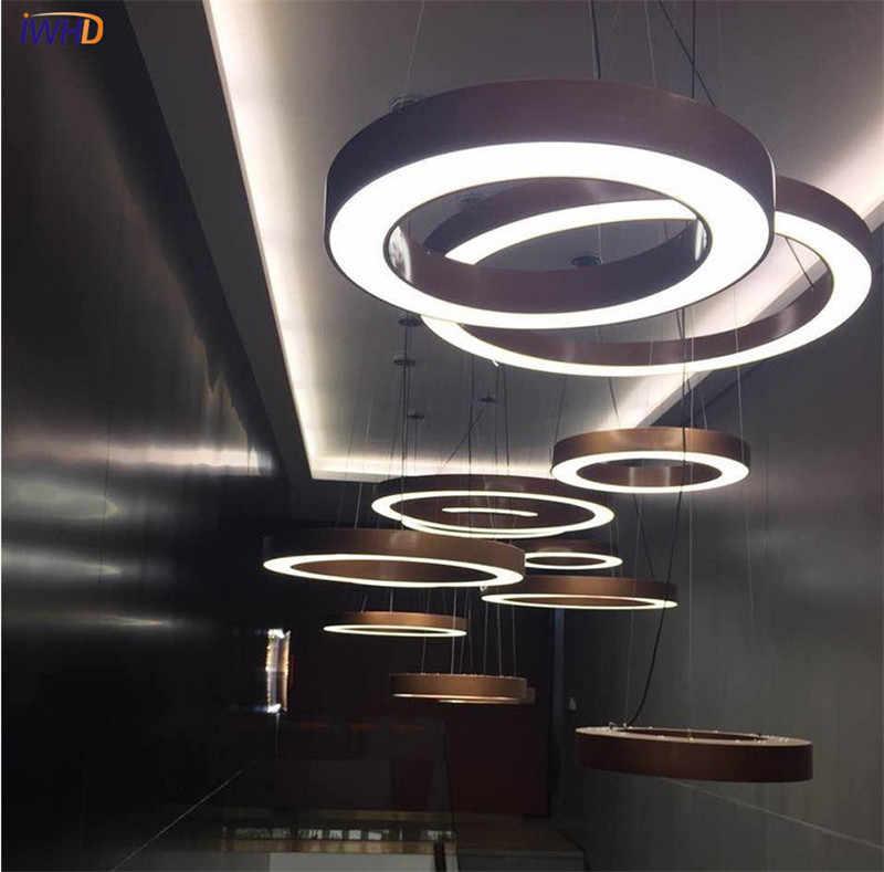 Золото Современная светодиодный led подвесные светильники кольцо форма акрил Droplight для обеденная подвесной светильник освещение в помещении