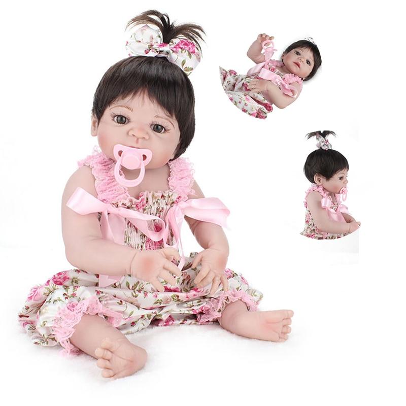 22'' Vinyl Girls Simulation Dolls Lifelike Handmade Full Body Silicone Reborn Doll Realistic Baby Newborn Doll Toys for Gifts