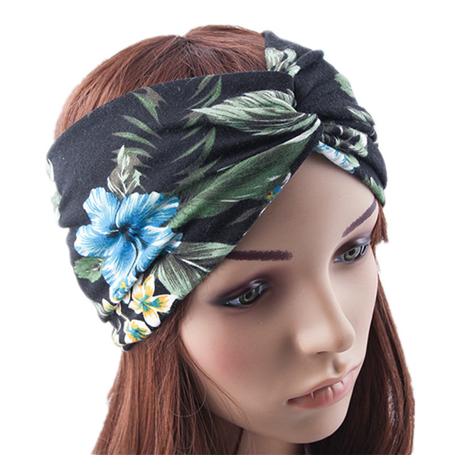 Women Vintage Tropic Plants Flower Pineapple Print Wide Cotton Headbands  Cross Hairbands Boho Holiday Knitting Hair Bands a43cbbec2b9