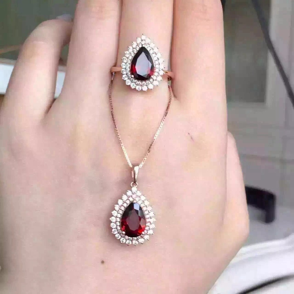 Garnet set wholesale 925 Silver Rose silver inlaid Ruby Ring Necklace Pendant alloy rose flower pendant necklace