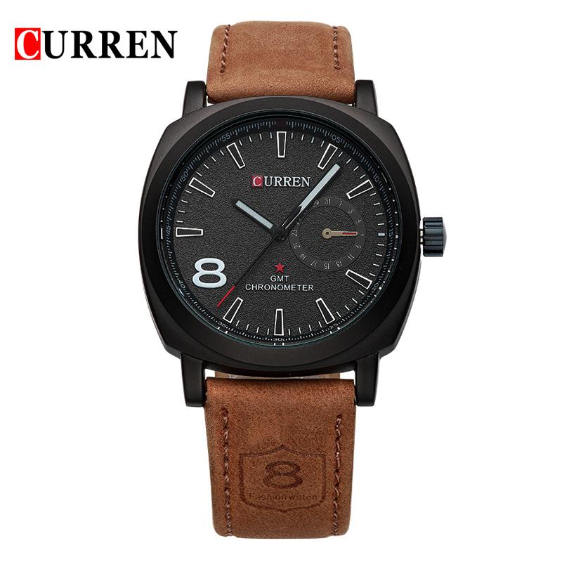 Prix pour Curren marque de luxe montre à quartz Occasionnel De Mode En Cuir montres reloj masculino hommes montre livraison gratuite Montres de Sport 8139