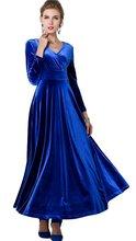 AnKoee Langes Kleid V-ausschnitt Langarm Royalblau Samt Abendkleider Kleider