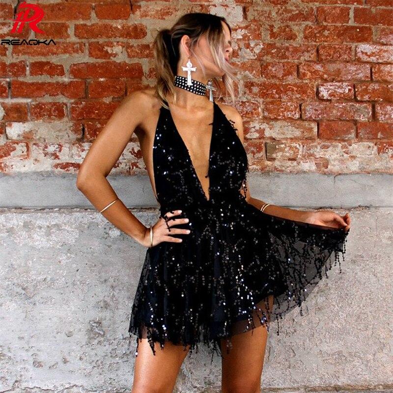 Reaqka Sexy Sequined vestidos mujeres espalda descubierta Halter negro oro Mini vestido de fiesta 2018 nuevas llegadas borla verano vestido Club desgaste