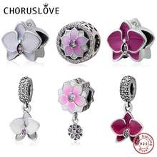 Choruslove Magnolia Flower Charm 925 Sterling Silver Orchid Bead fit Pandora Charms Floral Series Charms DIY Bracelet Jewelry(China)