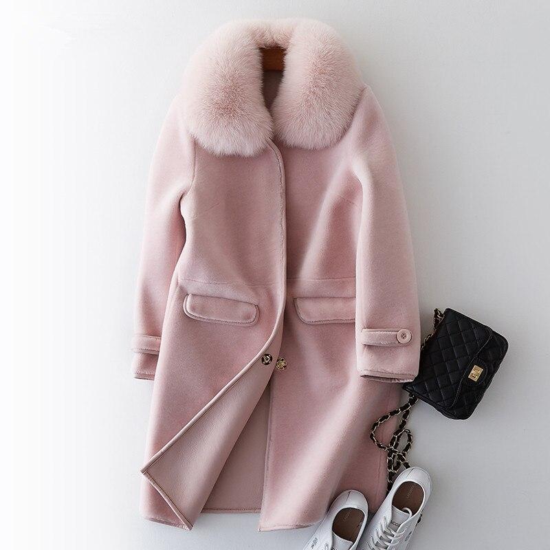 De Ayunsue Laine D'hiver Manteaux Manteau Réel Des Avec Wyq973 Pu pink Naturel Renard Col Black Tonte Fourrure Moutons Vestes Femmes caramel Doublure 2019 Chaud qqarE