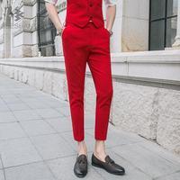 2018 New Fashion Uomo D'affari Formali Pantaloni Tuta Slim Fit Design Uomini Pantaloni Pantaloni Alla Caviglia-lunghezza del Vestito Da Partito di Lavoro Pantaloni singoli
